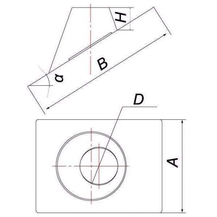 Чертеж Кровельный элемент DKH 33°/45° (Вулкан)