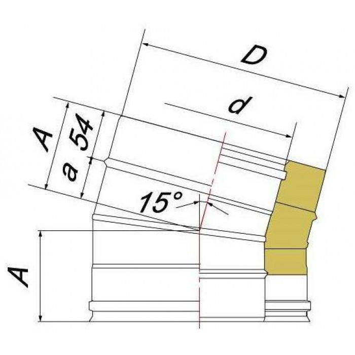 Чертеж Отвод DOTH 15° (Вулкан)