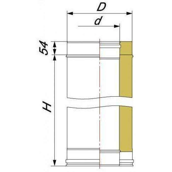 Чертеж Труба двустенная DTH L-250 (Вулкан)