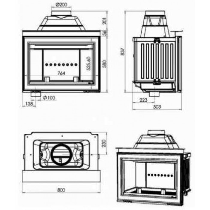 Чертеж Топка HP 800 L (Chazelles)