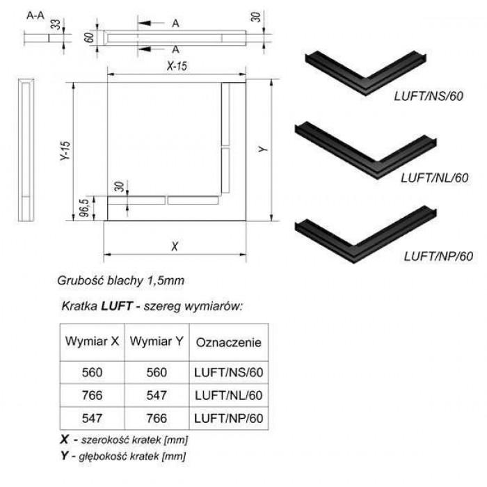 Чертеж Решетка каминная Люфт угловая стандарт 60 (Kratki)