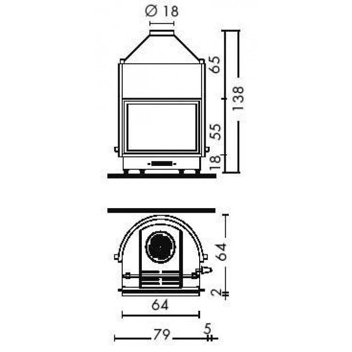 Чертеж Топка IDRO 50 (Edilkamin)