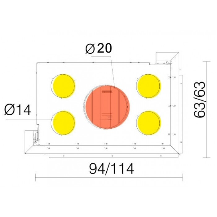 Чертеж Топка WINDO2 95 DX/SX (Edilkamin)