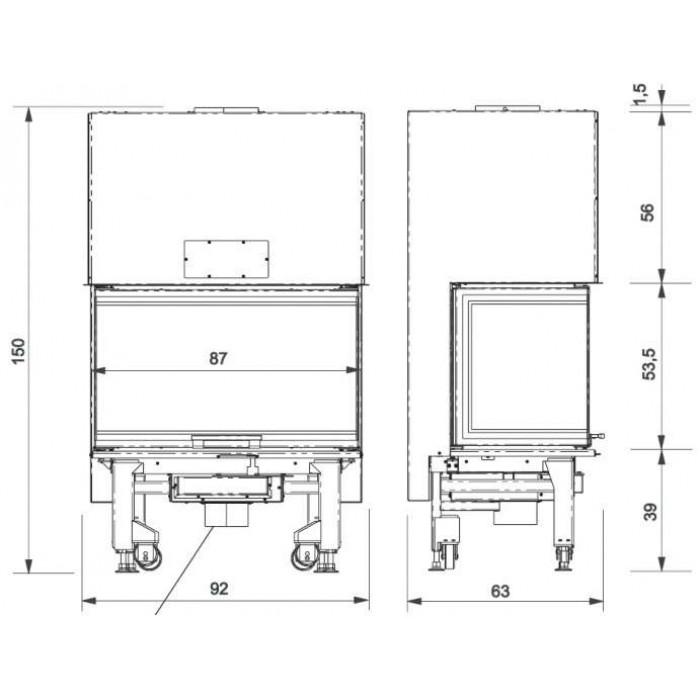 Чертеж 2 Топка WINDO3 85 (Edilkamin)
