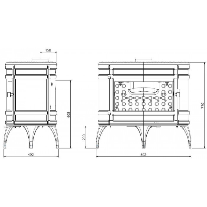 Чертеж Печь Mandor (Invicta)