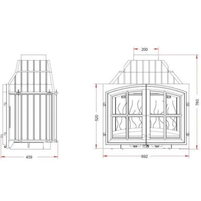 Чертеж Топка Double Porte 700 (Invicta)