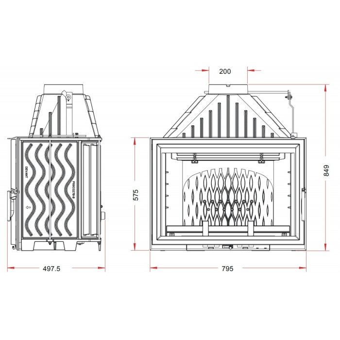 Чертеж Топка Grand Vision 800 (Invicta)