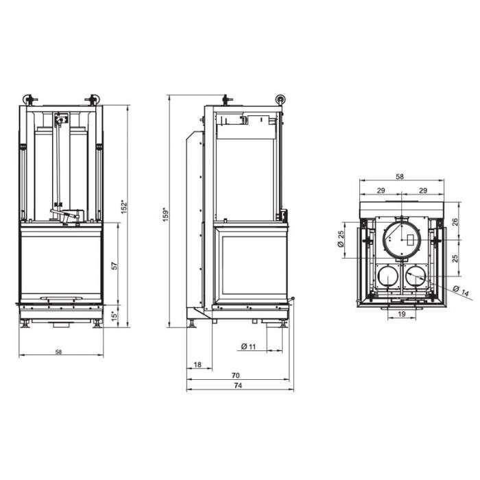 Чертеж Топка Ecomonoblocco S66 3D (Palazzetti)