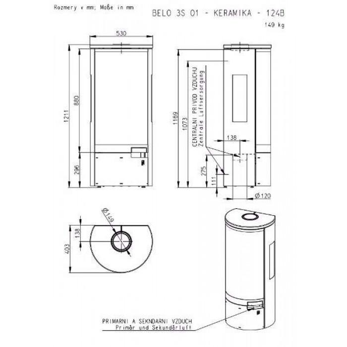 Чертеж Печь BELO 3S (Romotop)