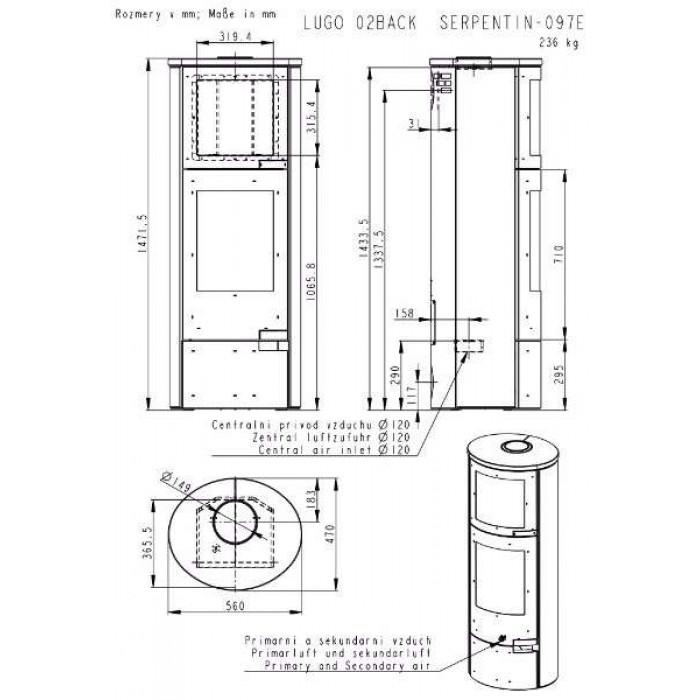 Чертеж Печь LUGO FORNO (Romotop)