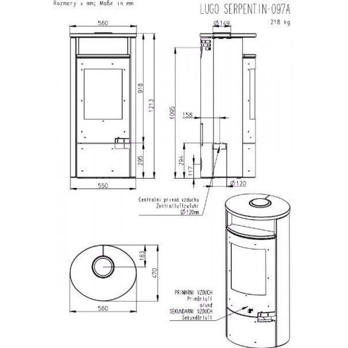Чертеж Печь LUGO (Romotop)