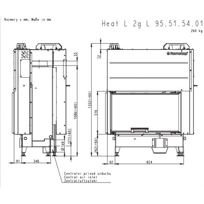 Чертеж 2 Топка Heat R/L 3G L 65.51.40.01 (Romotop)