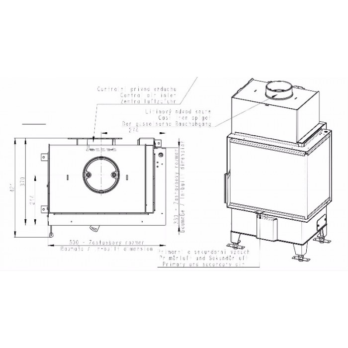 Чертеж Топка Heat R/L 2G S 50.44.33.23 (Romotop)
