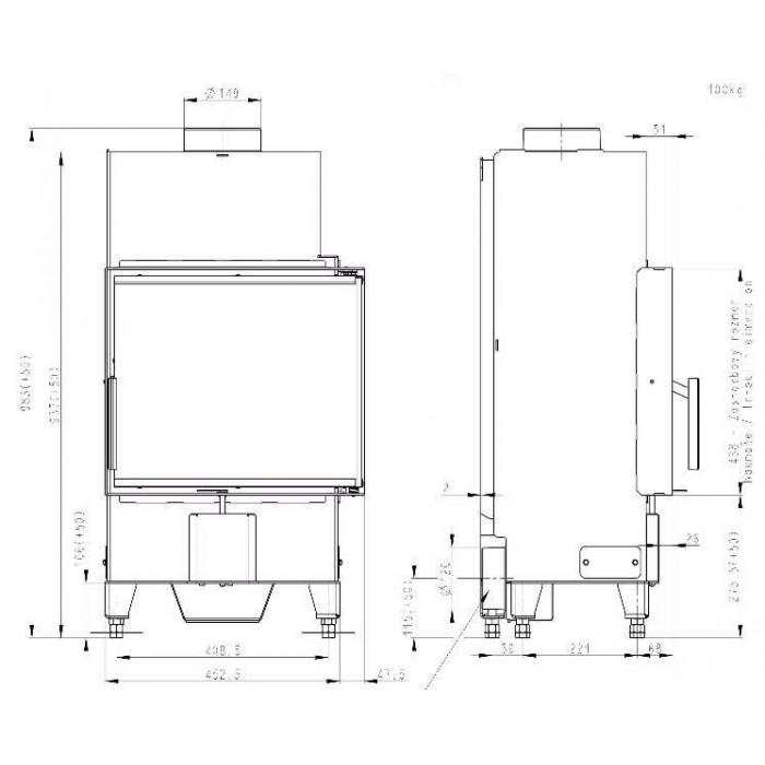 Чертеж 2 Топка Heat R/L 2G S 50.44.33.23 (Romotop)