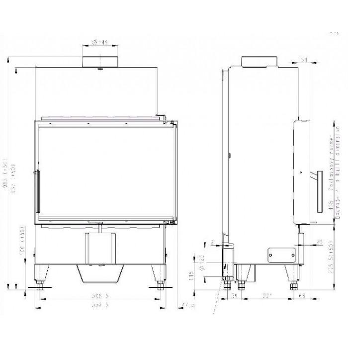 Чертеж Топка Heat R/L 2G S 60.44.33.23 (Romotop)