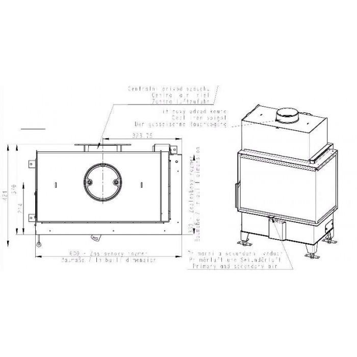Чертеж 2 Топка Heat R/L 2G S 60.44.33.23 (Romotop)