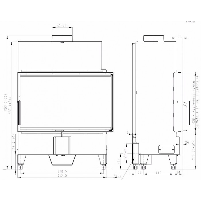 Чертеж 2 Топка Heat R/L 2G S 70.44.33.23 (Romotop)