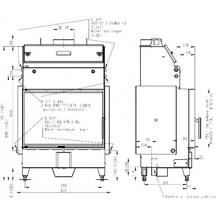 Чертеж 2 Топка Heat W 2G 70.50.01 (Romotop)