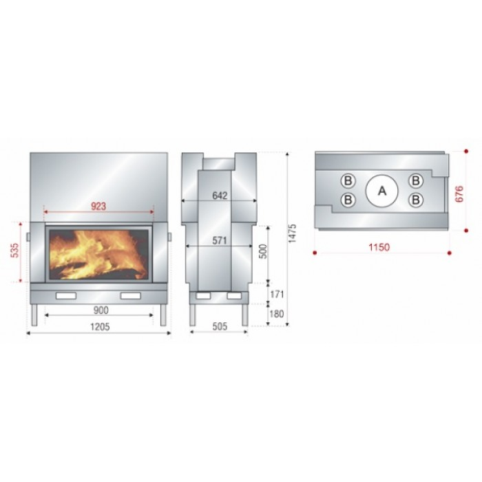 Чертеж Топка AX-H 1200DF (Axis)
