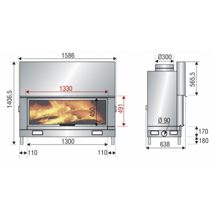 Чертеж Топка AX-H 1600 (Axis)