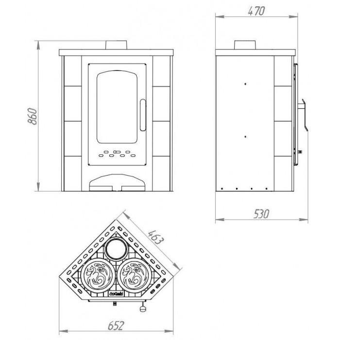 Чертеж Печь БАВАРИЯ Угловая с плитой (Ecokamin)