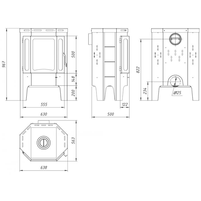 Печь БАВАРИЯ Призматик пристенно-угловой (Ecokamin)