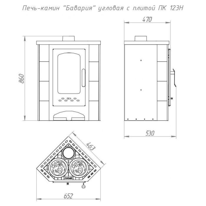 Чертеж Печь БАВАРИЯ Угловая с плитой незабудка (Ecokamin)