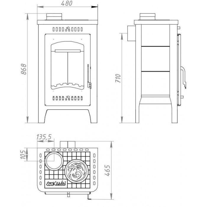 Чертеж Печь БАВАРИЯ Оптима с плитой (Ecokamin)