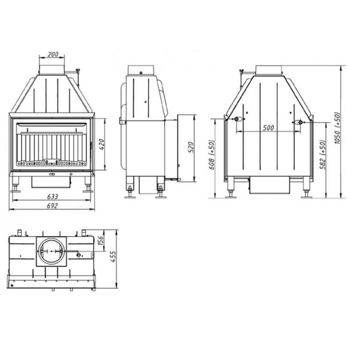 Чертеж Топка Альфа 700 с теплообменником (Ecokamin)