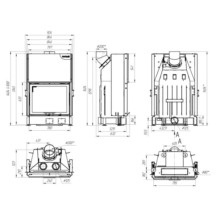 Чертеж Топка Вега 800В (Ecokamin)