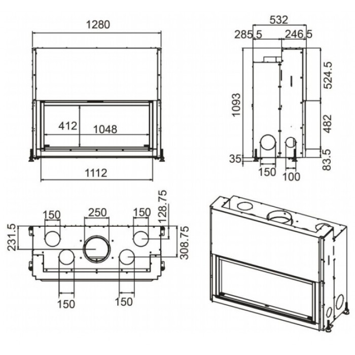 Чертеж Топка Forma 115 (MCZ)