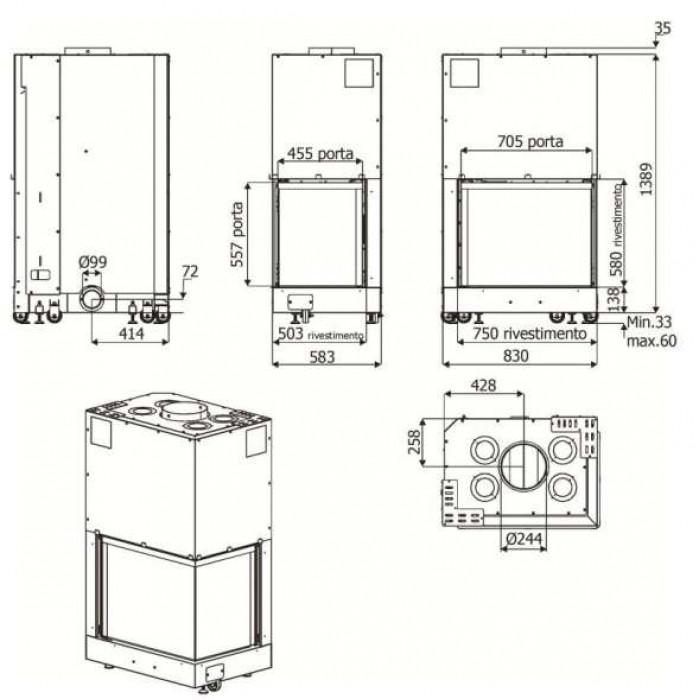 Чертеж Топка Forma 75 DX/SX (MCZ)