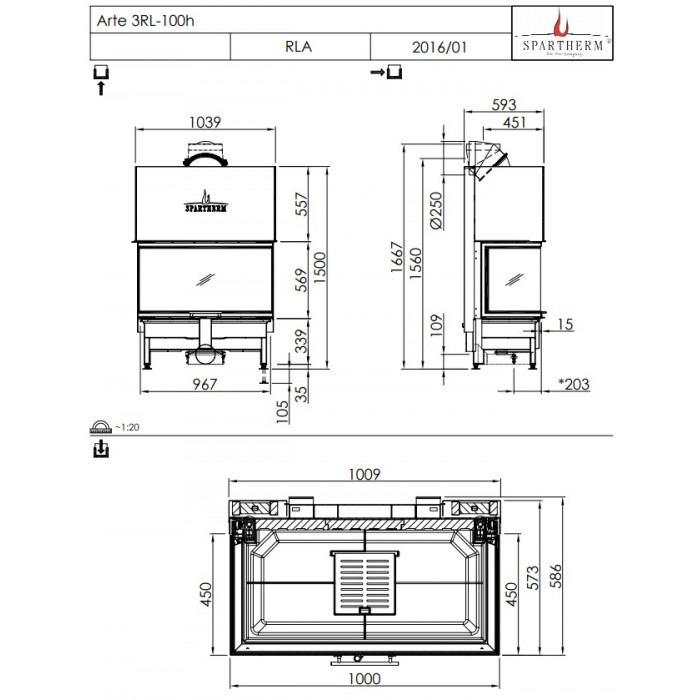 Чертеж Топка Arte 3RL-100h-4S (Spartherm)