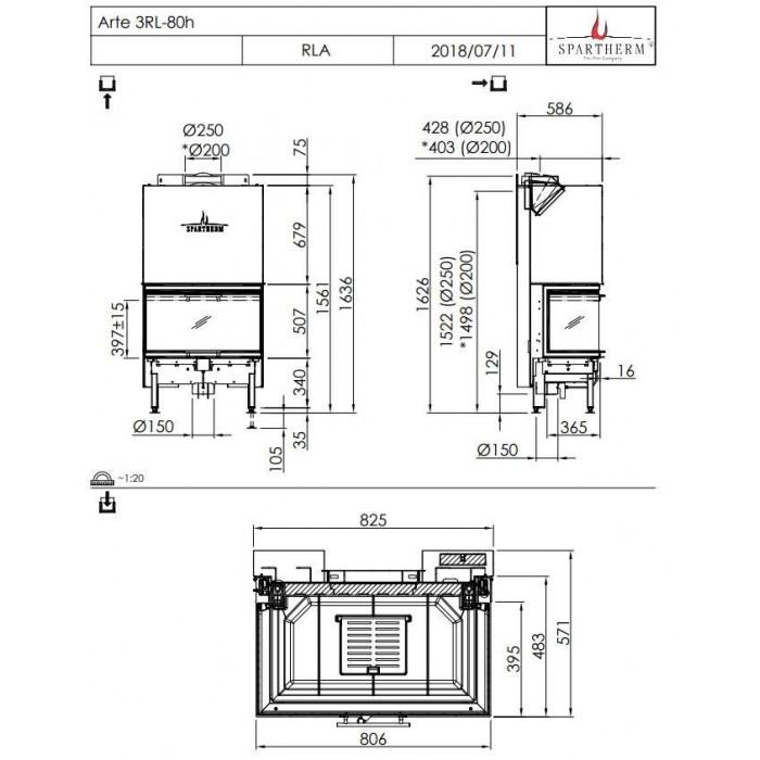 Чертеж Топка Arte 3RL-80h-4S (Spartherm)