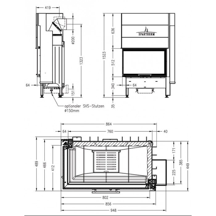 Чертеж Топка Varia 2L-80h-4S (Spartherm)