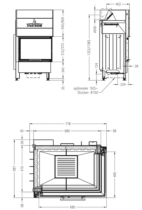 Чертеж Топка Varia 2Rh-4S (Spartherm)