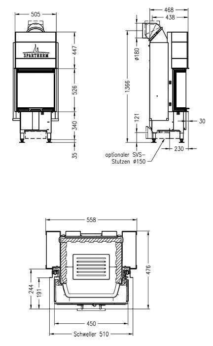Чертеж Топка Varia C-45h (Spartherm)