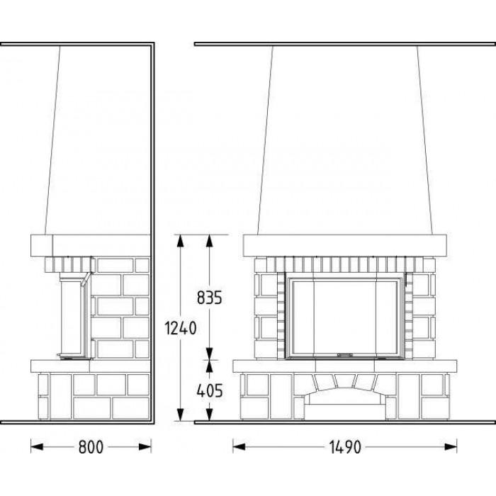 Чертеж Камин AURIAC 80 (Supra)
