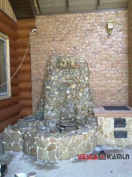 Комплекс барбекю из камня с фонтаном фото 3