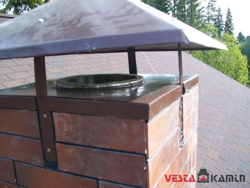 Фальш короб дымохода отделанный плиткой под кирпич